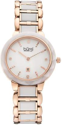 Burgi Women's Diamond Two Tone Stainless Steel & Ceramic Watch