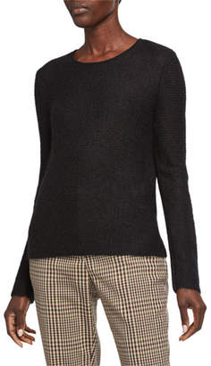 Giorgio Armani Mohair-Wool Sheer-Stitched Tunic Sweater, Black