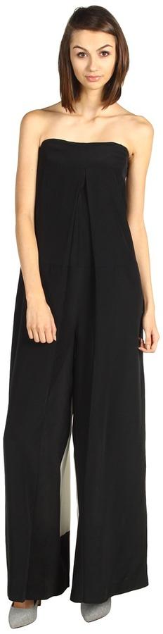 Tibi Mila Silk Color Block Jumpsuit (Black/Ivory Multi) - Apparel
