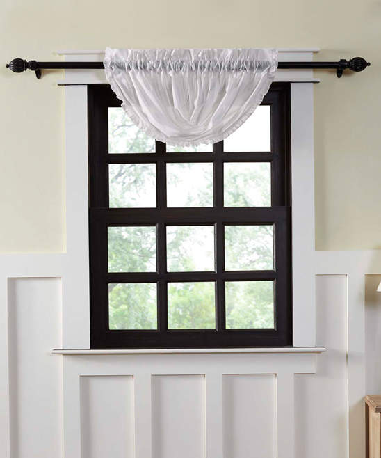 White Ruffled Sheer Balloon Valance