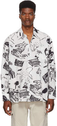 Our Legacy White and Black Story Print Shirt