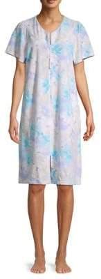 Miss Elaine Printed Zip-Front Robe