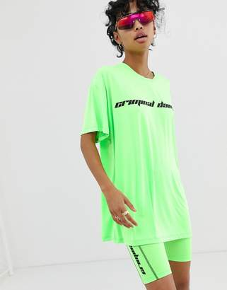 Criminal Damage oversized t-shirt with logo in neon