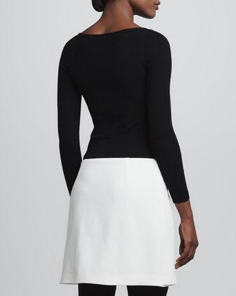 Paule Ka Long-Sleeve Buckle-Skirt Dress