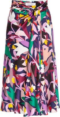 Prabal Gurung Moore Printed Gathered Silk Skirt