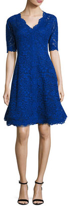 Rickie Freeman for Teri Jon Floral Lace Fit-and-Flare Cocktail Dress, Royal $540 thestylecure.com