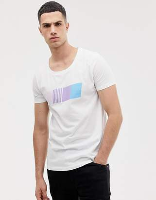 Asos Design DESIGN longline t-shirt with scoop neck and gradient print