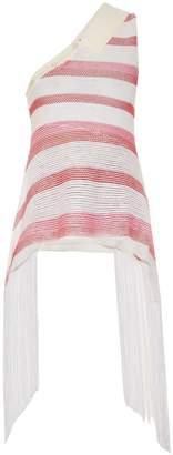 Stella McCartney Fringed striped mesh-knit one-shoulder top