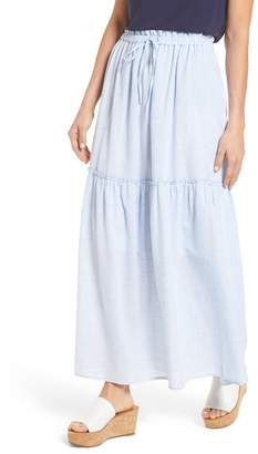 Caslon Drawstring Ruffle Cotton Maxi Skirt (Regular & Petite)