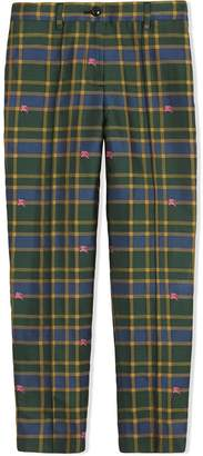 Burberry Jacquard Check and Equestrian Knight Tuxedo Trousers