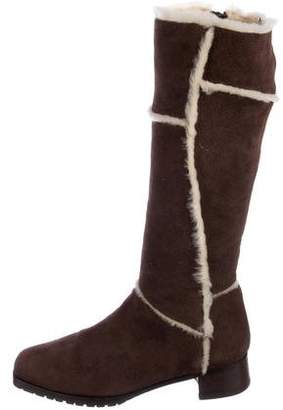 Manolo Blahnik Shearling-Lined Knee-High Boots