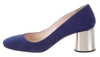 Prada Square-Toe Suede Pumps