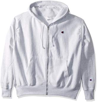 Champion LIFE Men's Reverse Weave Full-Zip Hoodie, Gfs Silver Grey/Left Chest C Logo and Sleeve Patch