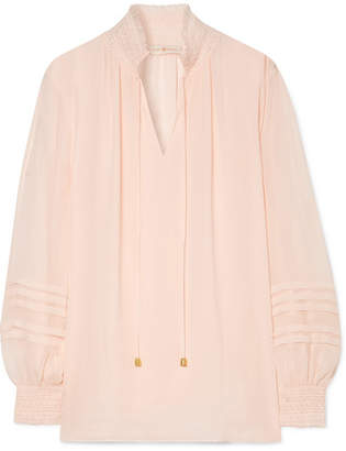 Tory Burch Haley Shirred Silk Blouse - Pink