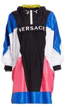 Versace Long-Sleeve Logo Colorblock Poncho