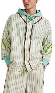 Facetasm Men's Striped Wool Baseball Shirt - White