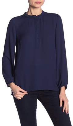 Daniel Rainn DR2 by Pleated Trim Long Sleeve Blouse
