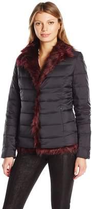 Betsey Johnson Women's Light Weight Puffer to Faux Fur Reversible JKT