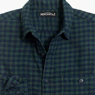 J.Crew Mercantile Tall slim-fit heather flannel shirt in small buffalo check