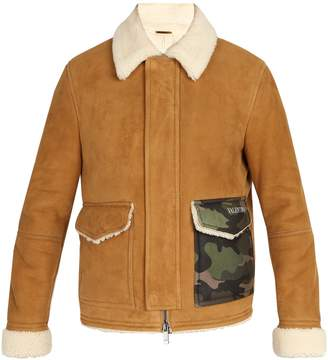 Valentino Camouflage-pocket shearling coat