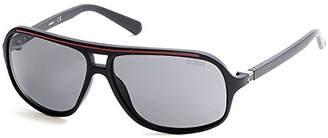 GUESS Men's GU6877-02D Sunglasses, Black (Matte Black/Smoke Polarized)