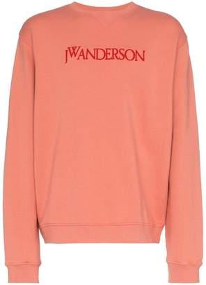 J.W.Anderson pink logo embroidered cotton sweatshirt