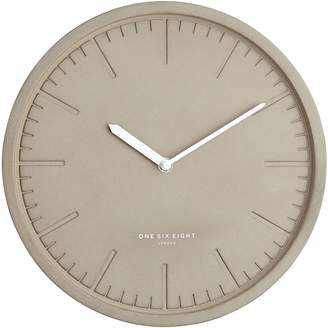 One Six Eight London Simone Silent Wall Clock, 30cm, Light Concrete
