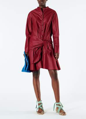 Tibi Glossy Plainweave Short Shirtdress with Removable Waist Tie