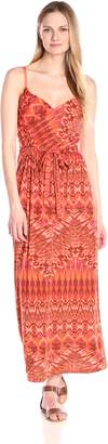Allison Brittney Women's Pleated Cross Over Front Printed Empire Maxi Dress