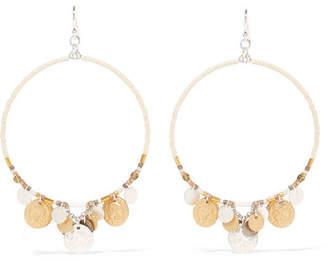 Chan Luu Silver-tone Beaded Hoop Earrings - White