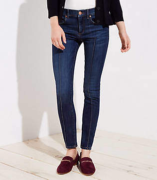 LOFT Petite Curvy Pintucked Skinny Jeans in Refined Dark Indigo Wash
