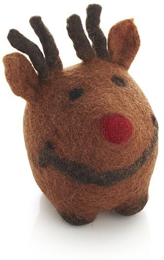 Crate & Barrel Wool Reindeer Dog Toy.