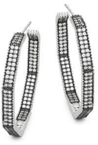 Freida Rothman Double Row Pavé Crystal Octagon Hoop Earrings