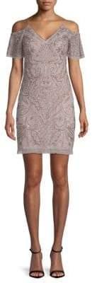 Aidan Mattox Embellished Cold-Shoulder Dress