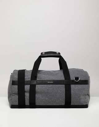 Asos Design Holdall In Grey With Faux Leather Straps And Silver Emboss
