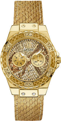 GUESS Women's Gold-Tone Leather Strap Watch 38mm