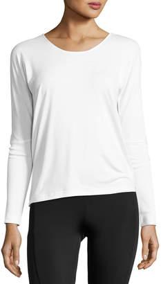 Onzie Drapey V-Back Long-Sleeve Tee, White