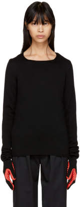 Comme des Garcons Black and Red Rubber Glove Sleeve Sweater