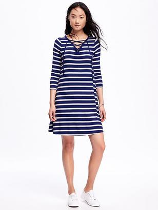 Striped Lace-Front Swing Dress for Women $34.94 thestylecure.com
