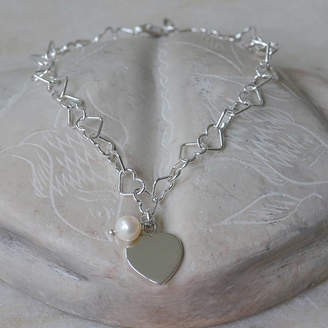 Tales From The Earth Personalised Sterling Silver Heart And Pearl Bracelet