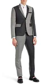 Thom Browne MEN'S HIGH-ARMHOLE PATCHWORK WOOL THREE-BUTTON SUIT - BLACK SIZE 2