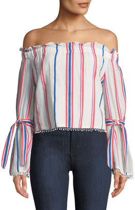 Red Carter Off-The-Shoulder Awning-Striped Bell-Sleeve Blouse