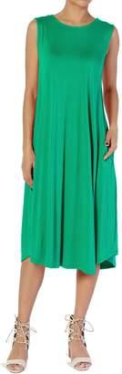 TheMogan Women's Sleeveless Pocket A-line Fit and Flare Midi Long Dress 1XL