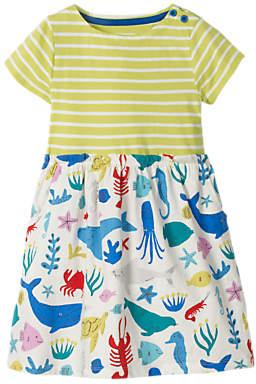 Boden Mini Girls' Bright Sea Creature Hotchpotch Dress, White