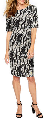 Connected Apparel Short Sleeve Abstract Sheath Dress