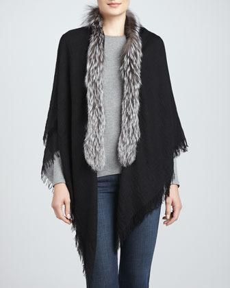 Sofia Cashmere Silver Fox Fur-Trimmed Cashmere Shawl, Black