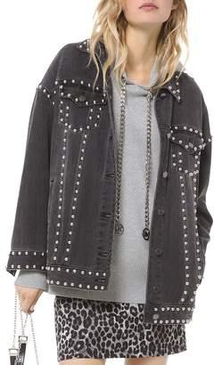 MICHAEL Michael Kors Oversized Studded Denim Jacket in Charcoal Wash