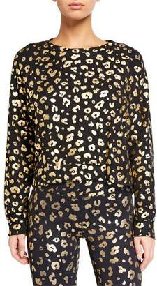 Terez Cheetah Foil Printed Crewneck Long-Sleeve T-Shirt