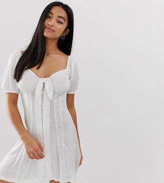 Asos DESIGN Petite knot front button through sundress with puff sleeve