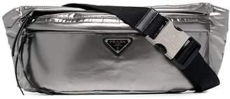 Prada metallic silver logo PU belt bag